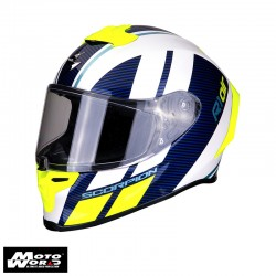 Scorpion EXO10291241 R1 Air Corpus White-Blue-Fluo-Yellow Racing Helmet