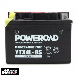 Poweroad YTX4L-BS 12V3AH Maintenance Free Motorcycle Battery